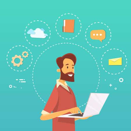 using laptop: Casual Man Using Laptop Working Flat Vector Illustration