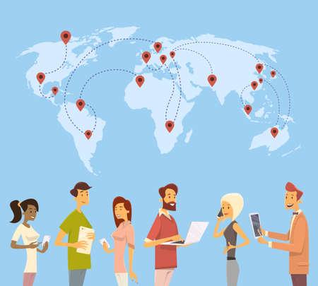 global communication: People Chat Digital Device World Map Social Network Communication Flat Vector Illustration