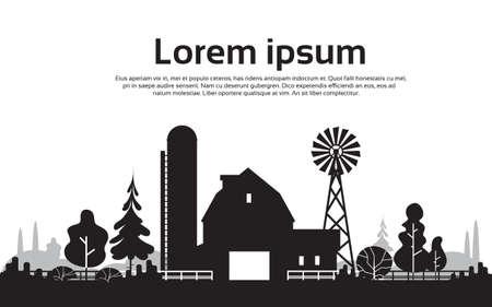Silueta grande de granja con la Casa, Tierras de cultivo Campo paisaje ilustración vectorial Flat