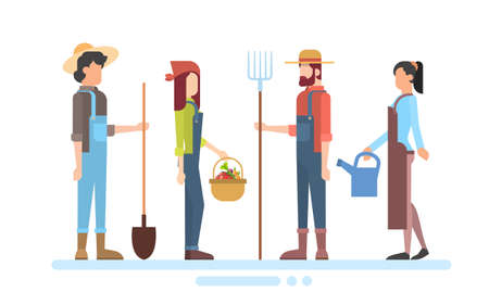 peasant woman: Group Of Farmers Hold Farming Equipment Country Man And Woman Flat Vector Illustration