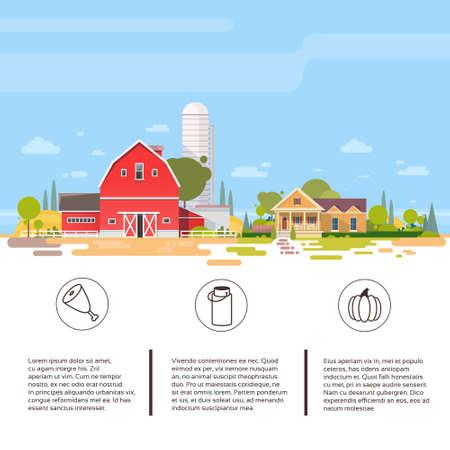 Big Farm With House, Farmland Countryside Landscape Flat Vector Illustration