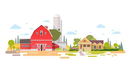 tillage: Gran finca con casa, Tierras de cultivo Campo paisaje ilustración vectorial Flat Vectores
