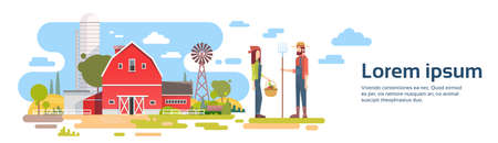 peasant woman: Farmers Couple Stand Before Big Farm With House, Farmland Countryside Banner Flat Vector Illustration