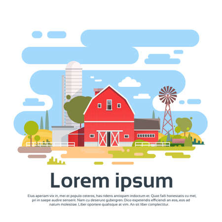 tillage: Big Farm With House, Farmland Countryside Landscape Flat Vector Illustration