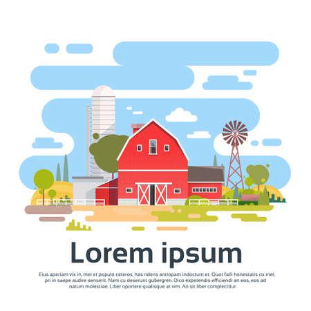 labranza: Gran finca con casa, Tierras de cultivo Campo paisaje ilustraci�n vectorial Flat Vectores