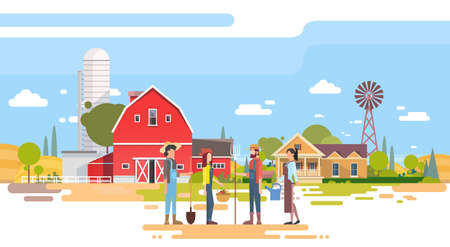 Farmers Group Stand Before Big Farm With House, Farmland Countryside Flat Vector Illustration