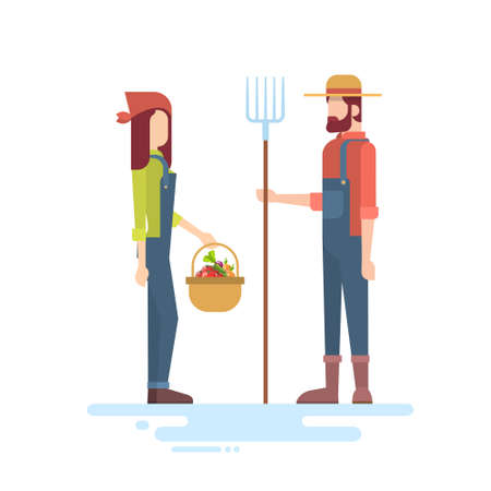 villager: Farmers Couple Hold Farming Equipment Country Man And Woman Flat Vector Illustration