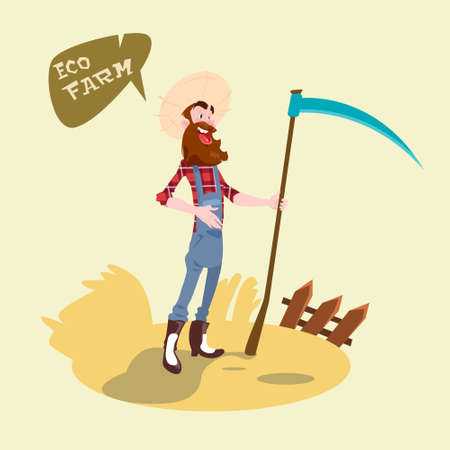 wheat harvest: Farmer Holding Scythe Wheat Harvest Eco Farming Concept Flat Vector Illustration