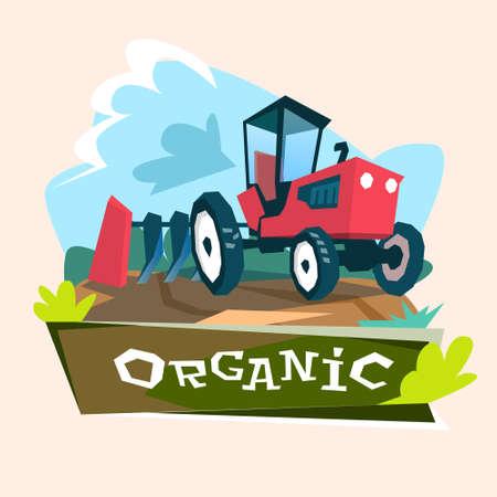 arando: Ilustraci�n tractor arando el campo de la agricultura ecol�gica Concepto plana vectorial