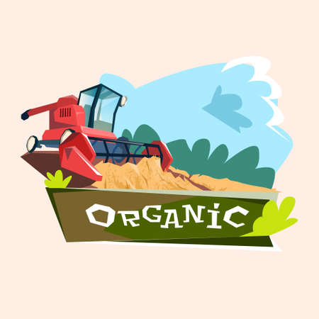 combine: Combine Harvesting Wheat Crop In Field Organic Farming Logo Flat Vector Illustration Illustration
