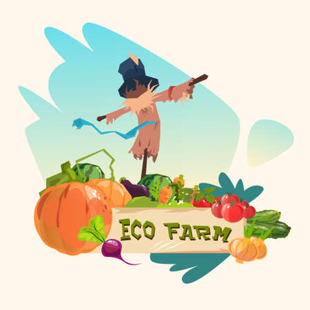 manequin: Scarecrow On Vegetable Field Eco Farming Logo Concept Flat Vector Illustration