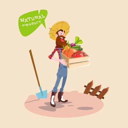 countryman: Farmer Hold Box With Vegetables Natural Farming Logo Concept Flat Vector Illustration