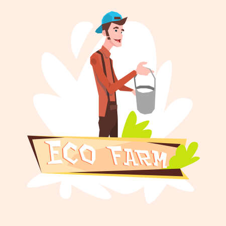 milk pail: Milkman Farmer Hold Milk Pail Eco Farming Logo Concept Flat Vector Illustration