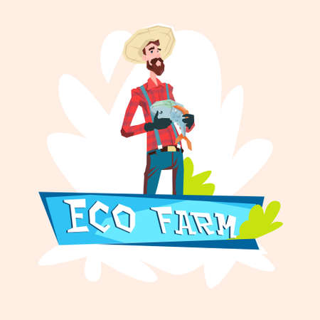 villager: Farmer Fishman Hold Fish Eco Farming Logo Concept Flat Vector Illustration Illustration