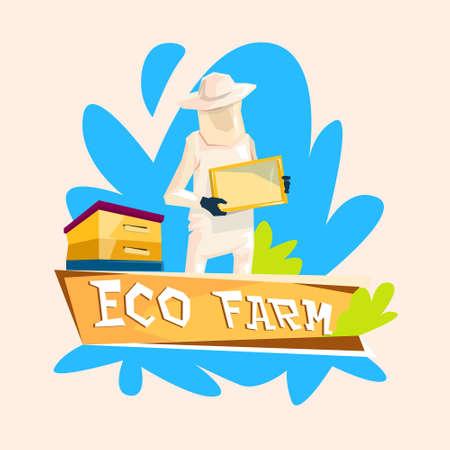 villager: Farmer Gather Honey From Bee Hive Apiary Eco Farm Logo Flat Vector Illustration
