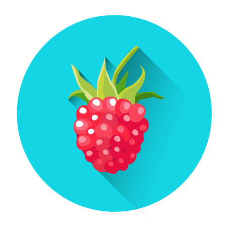 Raspberry Colorful Berry Icon Flat Vector Illustration