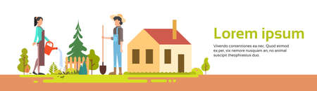 countryman: Couple Man And Woman Working In Garden Near Village House Banner Flat Vector Illustration