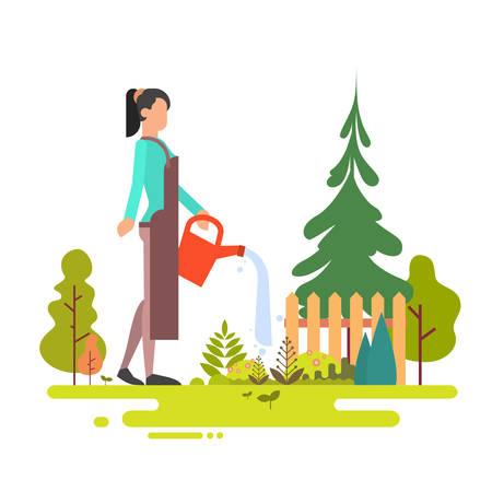 backyard work: Woman Washing Garden Green Tree Flat Vector Illustration