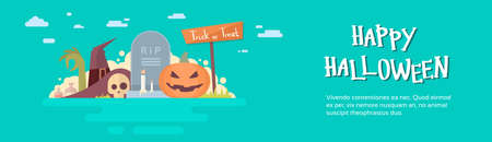 Happy Halloween Banner Invitation Card Tomb Stone Pumpkin Face Flat Vector Illustration