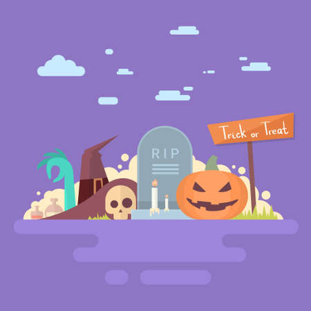 undead: Happy Halloween Banner Invitation Card Tomb Stone Pumpkin Face Flat Vector Illustration