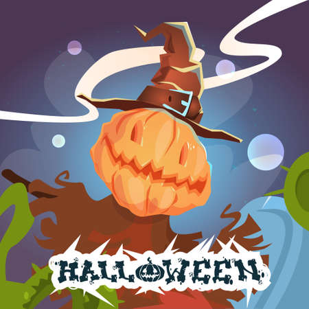 Happy Halloween Banner Scarecrow With Pumpkin Scary Face Flat Vector Illustration