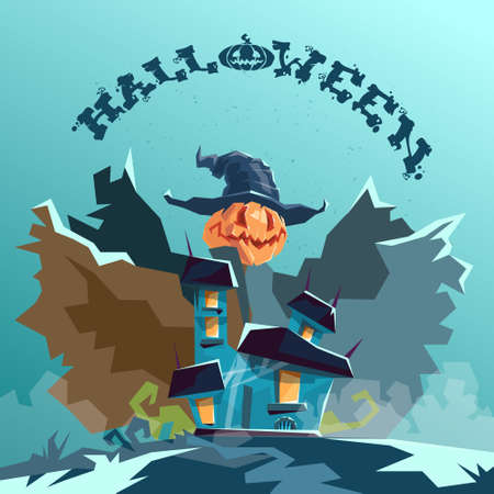 monsters house: Halloween House Scarecrow With Pumpkin Face Party Invitation Card Flat Vector Illustration