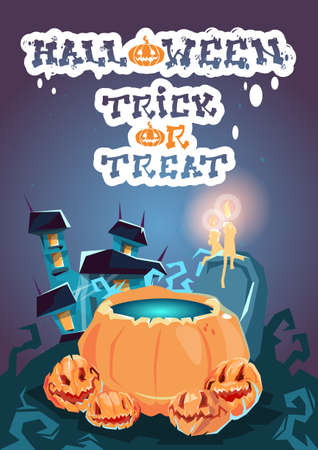 to boiling: Halloween House With Boiling Potion Pumpkin Face Party Invitation Card Flat Vector Illustration Illustration