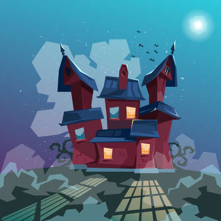 house party: Halloween House Party Invitation Card Flat Vector Illustration