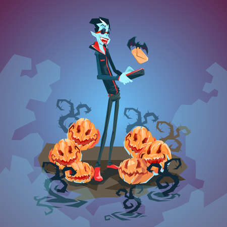 smart card: Vampire Dracula Using Cell Smart Phone Halloween Greeting Card Banner Flat Vector Illustration Illustration