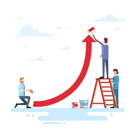 Business People Team Drawing Financial Graph Arrow Up Finance Success Concept Flat Vector Illustration Illustration