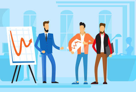 casual business team: Casual Business People Group Presentation Flip Chart Finance, Businesspeople Team Training Conference Meeting Flat Vector Illustration