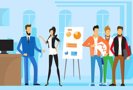 casual business meeting: Casual Business People Group Presentation Flip Chart Finance, Businesspeople Team Training Conference Meeting Flat Vector Illustration