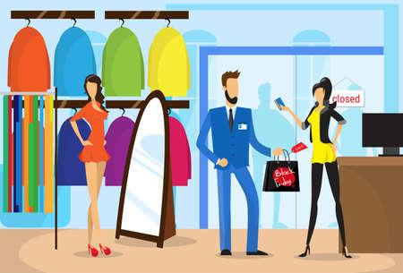 Couple à la mode, achat de vêtements Boutique moderne Centre commercial Centre Illustration vectorielle plane Vecteurs