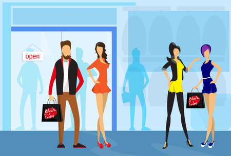boutique display: Stylish People Hold Shopping Bags Modern Shop Mall Center Interior Flat Vector Illustration