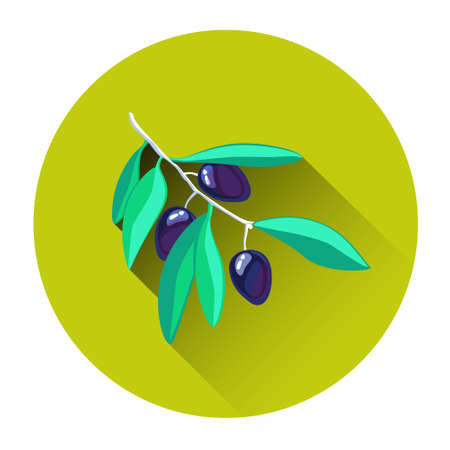 olive farm: Green Olives Colorful Icon Flat Vector Illustration