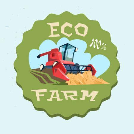 reaping: Combine Harvesting Wheat Crop In Field Eco Farm Logo Flat Vector Illustration Illustration