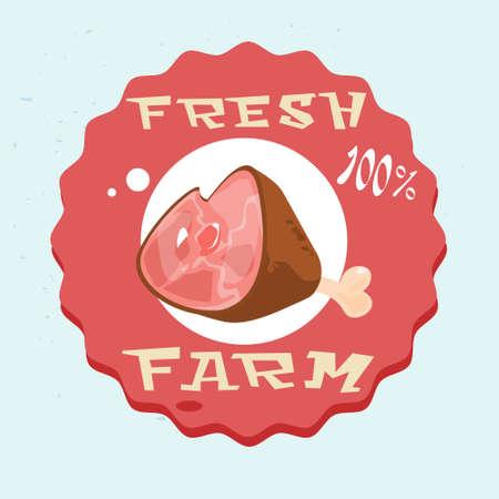lad: Pork Lad Pig Meat Eco Fresh Farm Logo Flat Vector Illustration