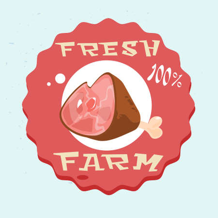 Pork Lad Pig Meat Eco Fresh Farm Logo Flat Vector Illustration