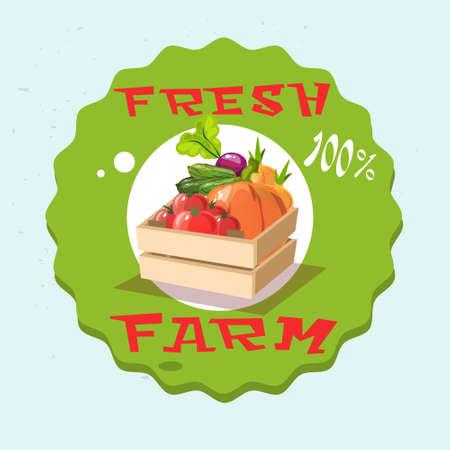 Box With Vegetable Harvest Eco Fresh Farm Logo Flat Vector Illustration