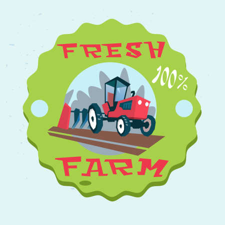 plowing: Tractor Plowing Field Eco Fresh Farm Logo Flat Vector Illustration