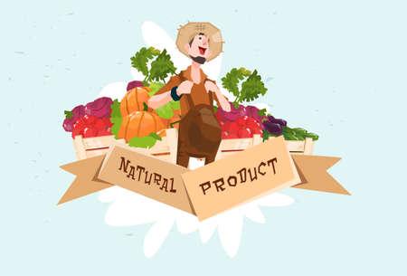 countryman: Farmer Vegetable Harvest Natural Product Eco Fresh Farm Logo Flat Vector Illustration
