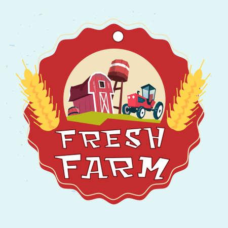 farmland: Farmland, Organic Eco Fresh Farm Logo Flat Vector Illustration