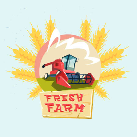 combine: Combine Harvesting Wheat Crop In Field Eco Fresh Farm Logo Flat Vector Illustration Illustration