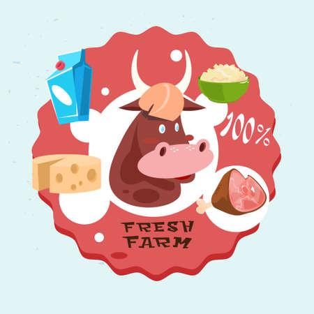 Cow Milk Meat Products Fresh Eco Farm Logo Flat Vector Illustration