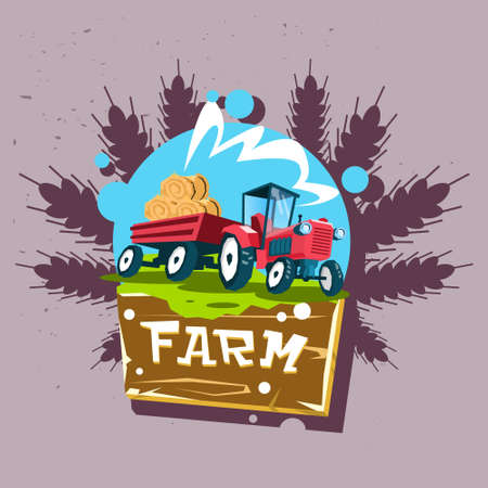 hay bales: Tractor Carry Straw Bale Eco Fresh Farm Logo Flat Vector Illustration