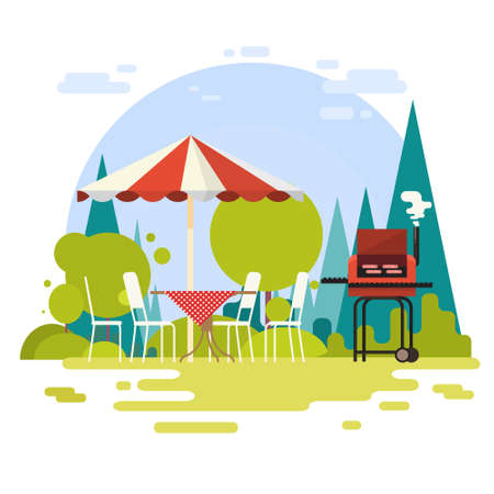 patio set: Summer Picnic Outdoors Barbecue Grill Party Flat Vector Illustration