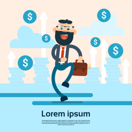 financial success: Happy Walking Business Man Hold Briefcase Arrow Up Background Financial Success Flat Vector Illustration