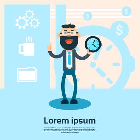 puntualidad: Hombre de negocios tienen Reloj despertador Punto Dedo Horario de Servicio ilustración vectorial Concepto Flat