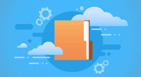 Document Folder Save Cloud Database Flat Vector Illustration