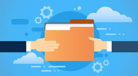 share information: Business Hands Give Folder Document Papers, Share Information Cloud Database Flat Vector Illustration